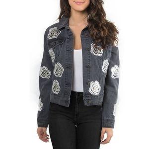 NWT Bagatelle Rose Applique Denim Jacket